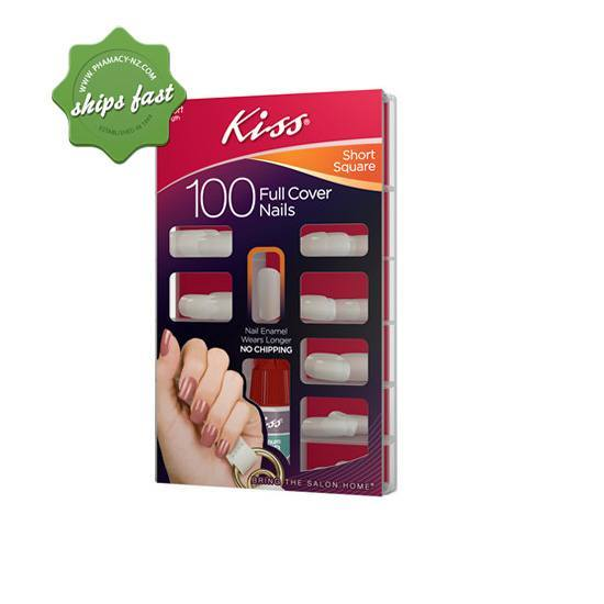 KISS FAKE NAILS SHORT LENGTH SQUARE FULL COVER 100s