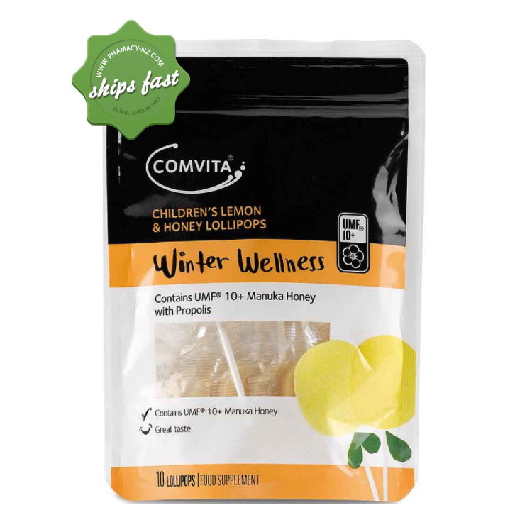 COMVITA CHILD LEMON AND HONEY LOLLIPOPS 10s