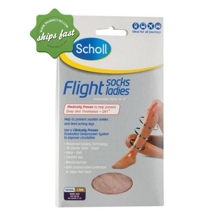 SCHOLL FLIGHT SOCKS LADIES UK 6-8 NATURAL SHEER