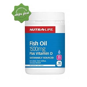 NUTRALIFE OMEGA 3 FISH OIL 1500MG PLUS VITAMIN D 180 CAPSULES