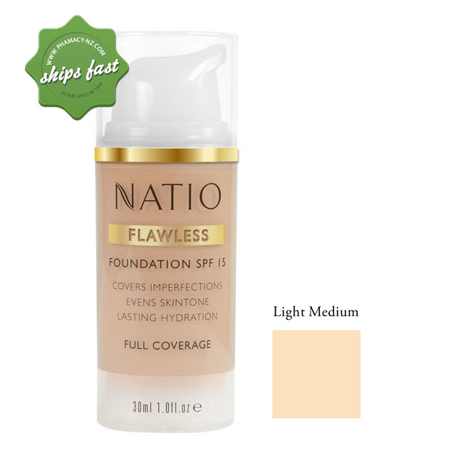 NATIO FLAWLESS FOUNDATION SPF 15 LIGHT MEDIUM (Special buy online only)