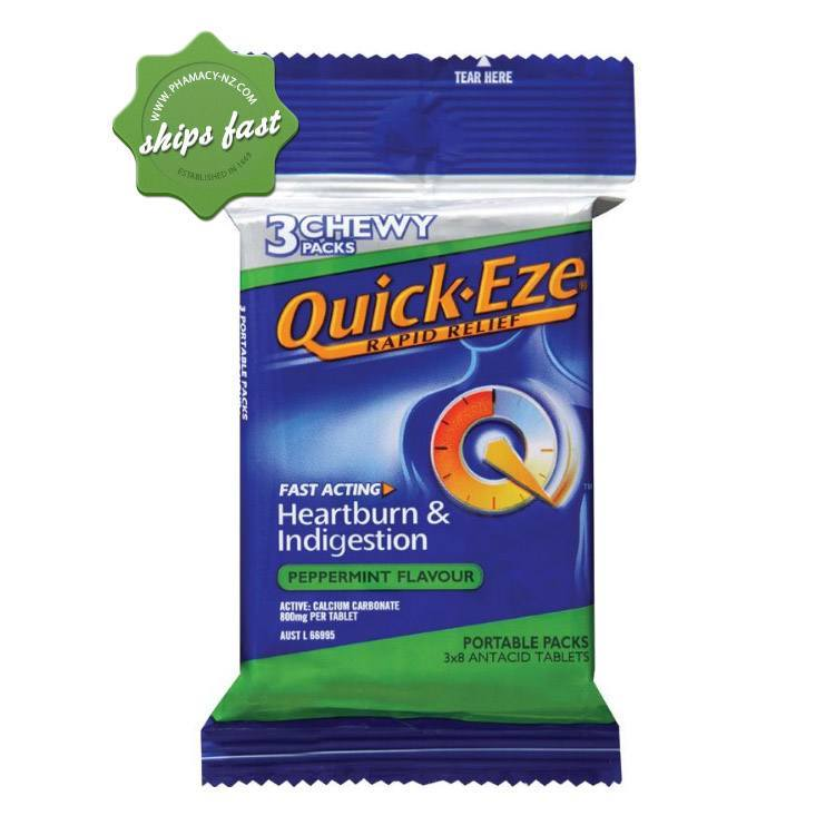 QUICKEZE 3 CHEWY PEPPERMINT PACKS X8