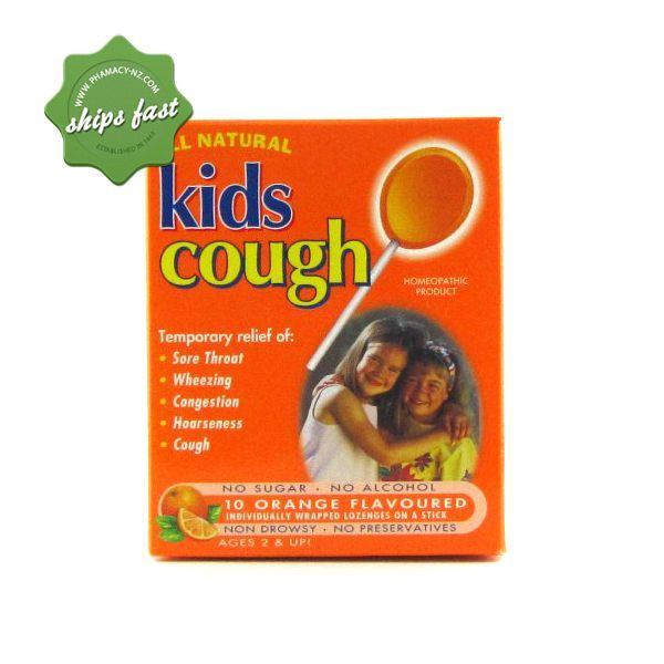 KIDS COUGH LOLLIPOPS ORANGE 10s