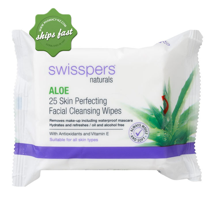 SWISSPERS NATURALS ALOE 25 SKIN PERFECTING FACIAL CLEANSING WIPES (Special buy online only)