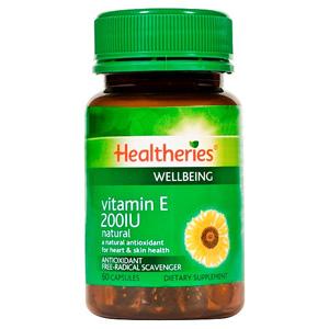 HEALTHERIES VITAMIN E 200IU 60 CAPSULES