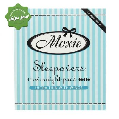 MOXIE SLEEPOVER 10 OVERNIGHT PADS ULTRA THIN WITH WINGS