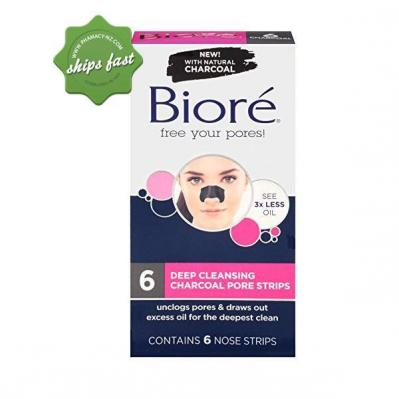 BIORE 6 DEEP CLEANSING CHARCOAL PORE STRIPS 6 NOSE STRIPS