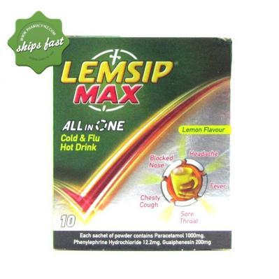 LEMSIP MAX COLD FLU LEMON 10
