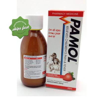 PAMOL ALL AGES STRAWBERRY COLOUR FREE 250MG 200ML