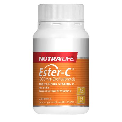 Nutralife Ester C 1000mg Plus Bioflavonoids 50 Tablets