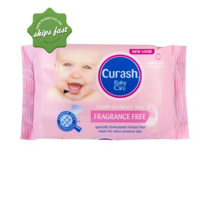 CURASH FRAGRANCE FREE BABY WIPES TRAVEL 20