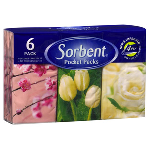 SORBENT TISSUES POCKET PACKS 6 OF 10