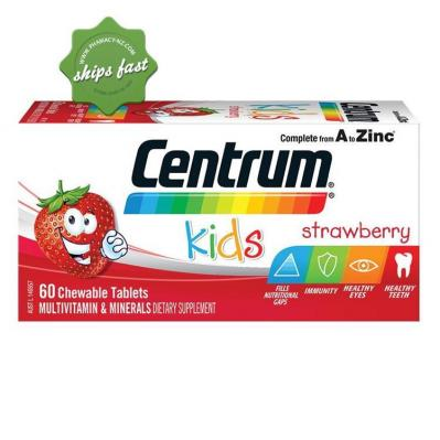 CENTRUM KIDS STRAWBERRY 60 CHEWABLE TABLETS