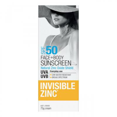 INVISIBLE ZINC FACE AND BODY SUNSCREEN SPF50 75ML (Special buy online only)