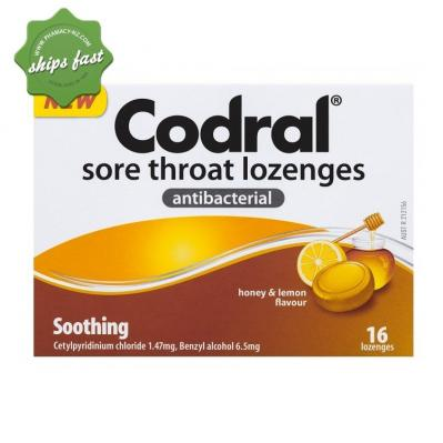 CODRAL SORE THROAT LOZENGE ANTIBACTERIAL HONEY LEMON 16 LOZENGES