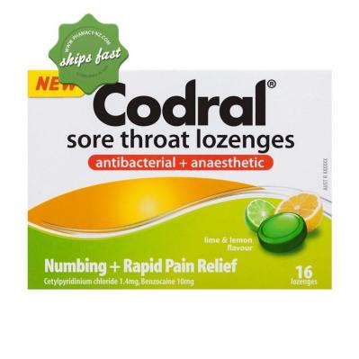 CODRAL THROAT LOZENGES ANTIBACTERIAL PLUS ANAESTHETIC LIME LEMON 16 LOZENGES