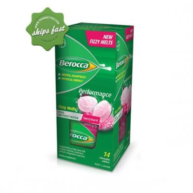 BEROCCA PERFORMANCE FIZZY MELTS BERRY BURST 14 CHEWABLE TABLETS