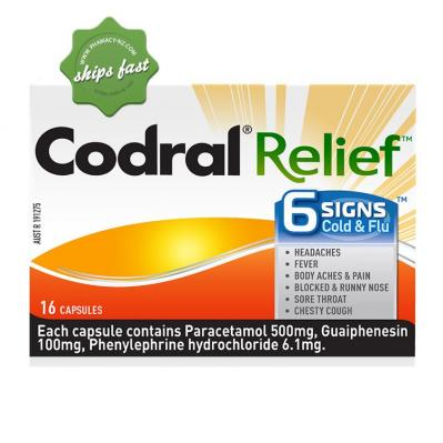 CODRAL RELIEF 6 SIGNS COLD AND FLU 16 CAPSULES