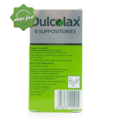 DULCOLAX ADULT SUPPOSITORIES 10MG 6