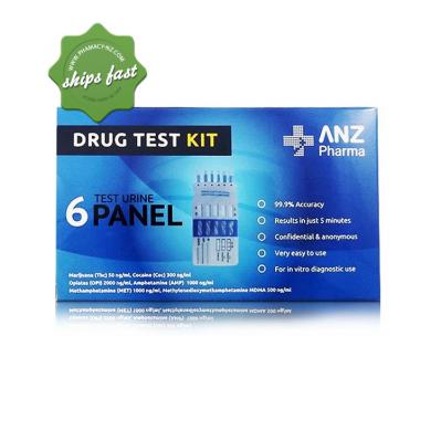 ANZ PHARMA DRUG TEST KIT 6 URINE TEST PANEL
