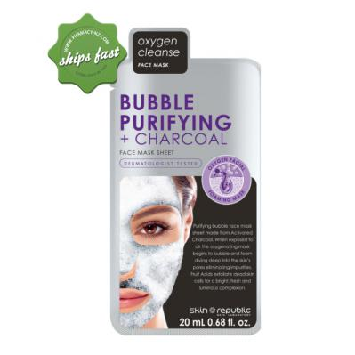 SKIN REPUBLIC BUBBLE PURIFYING PLUS CHARCOAL FACE MAKS SHEET 20ML (Special buy online only)