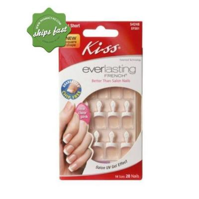 KISS EVERLASTING FRENCH GLUE ON NAILS SHORT LENGTH PINK 28s