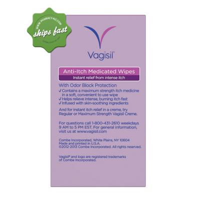 VAGISIL ITCH RELIEF WIPES 12S