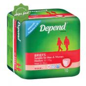 DEPEND FITTED BRIEFS MED X 10