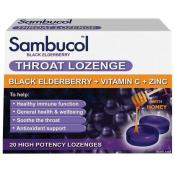 SAMBUCOL BLACK ELDERBERRY THROAT LOZENGES 20 HIGH POTENCY LOZENGES