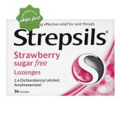 STREPSILS STRAWBERRY 36 SUGAR FREE LOZENGES