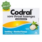 CODRAL THROAT LOZENGES ANTIBACTERIAL MENTHOL FLAVOUR 16s