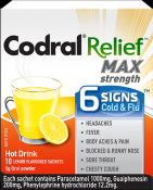 CODRAL RELIEF MAX STRENGTH 6 SIGNS COLD AND FLU 10X5G SACHETS