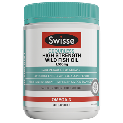 Swisse Ultiboost Odourless Wild Fish Oil 1500mg 200 Capsules