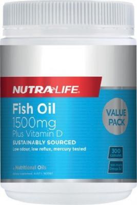 Nutralife Fish Oil 1500mg + Vitamin D 300 Capsules