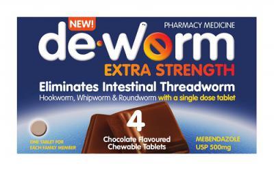 De-Worm Extra Strength 4 Chocolate Tablets