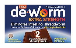 De-Worm Extra Strength 2 Chocolate Tablets