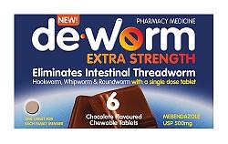 De-Worm Extra Strength 6 Chocolate Tablets