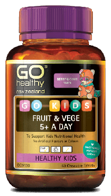 GO Healthy Go Kids Fruit & Vege 5+ A Day 60 Chewable Tablets