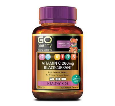 GO Healthy Go Kids Vitamin C 260mg Blackcurrant 60 Chewable Tablets