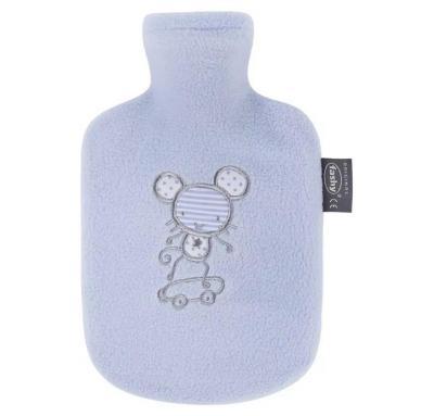 Fashy Hot Water Bottle Child's Fleece Blue 0.8 Litre