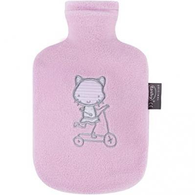Fashy Hot Water Bottle Child's Fleece Pink 0.8 Litre