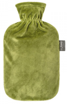 Fashy Hot Water Bottle Plush Cover Olive Green 2 Litre